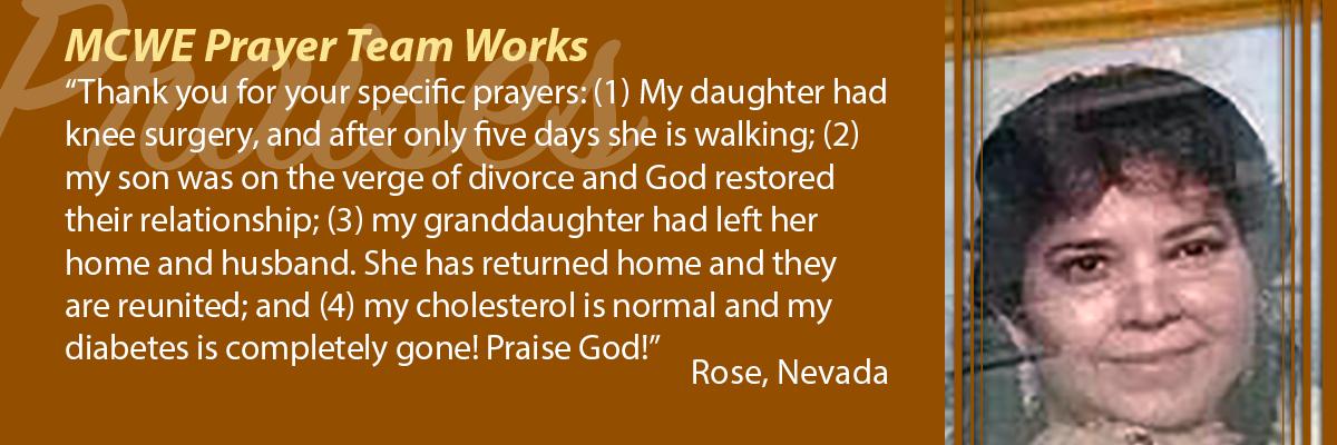 MCWE Prayer Team Works